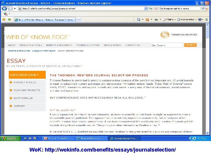 23 Wo. K: http: //wokinfo. com/benefits/essays/journalselection/