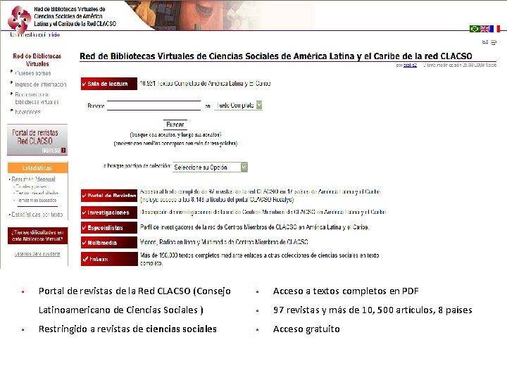 42 • • Portal de revistas de la Red CLACSO (Consejo • Acceso a