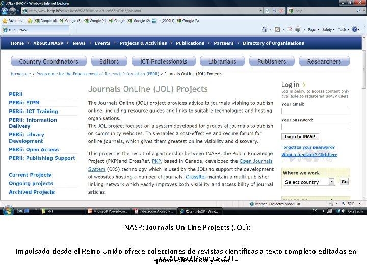 INASP: Journals On-Line Projects (JOL): Impulsado desde el Reino Unido ofrece colecciones de revistas