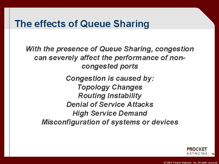 The effects of Queue Sharing With the presence of Queue Sharing, congestion can severely