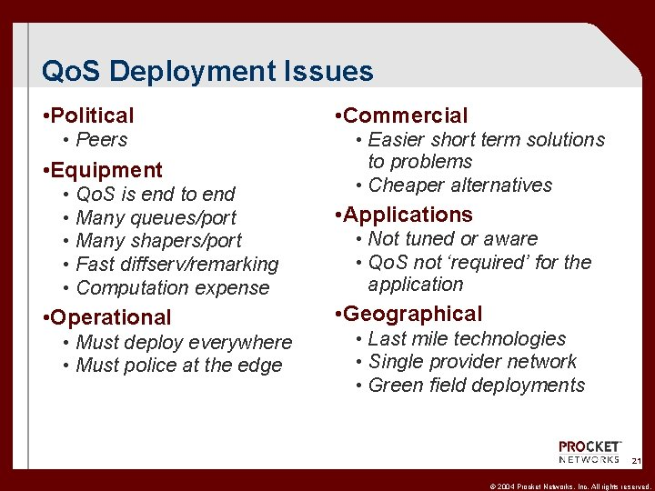 Qo. S Deployment Issues • Political • Commercial • Peers • Easier short term