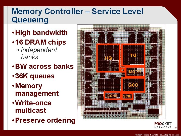 Memory Controller – Service Level Queueing • High bandwidth • 16 DRAM chips •