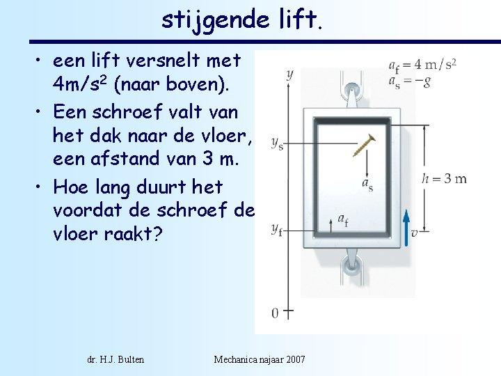 stijgende lift. • een lift versnelt met 4 m/s 2 (naar boven). • Een