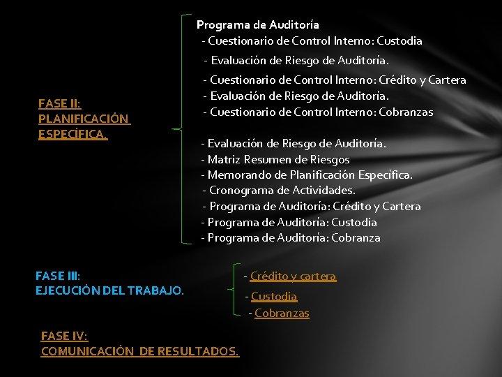 Programa de Auditoría - Cuestionario de Control Interno: Custodia - Evaluación de Riesgo de