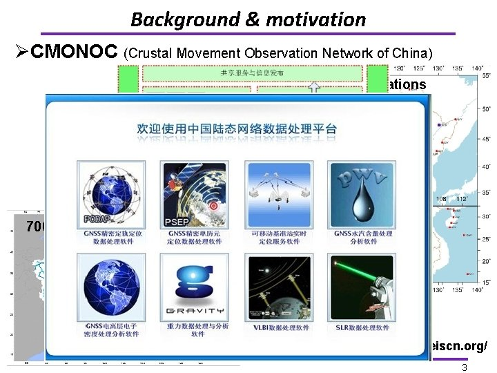 Background & motivation ØCMONOC (Crustal Movement Observation Network of China) 260 continuous stations 2000
