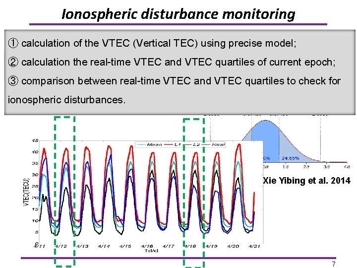 Ionospheric disturbance monitoring Øcalculation VTEC Quartiles ① of the VTEC (Vertical TEC) using precise