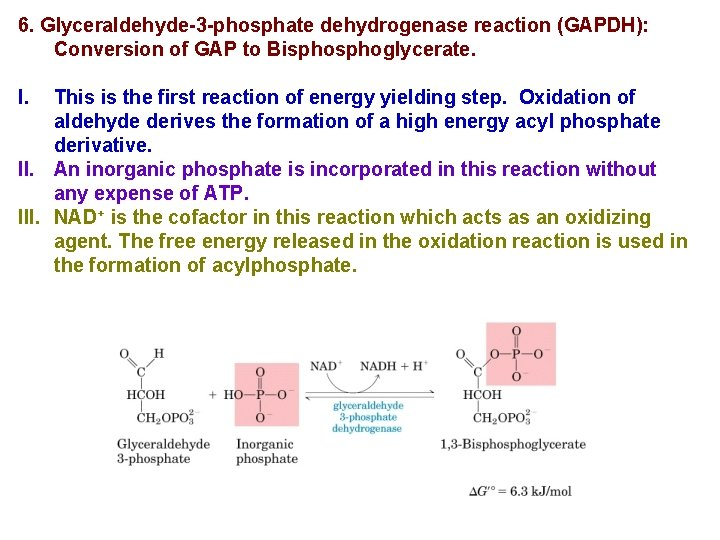 6. Glyceraldehyde-3 -phosphate dehydrogenase reaction (GAPDH): Conversion of GAP to Bisphoglycerate. I. This is