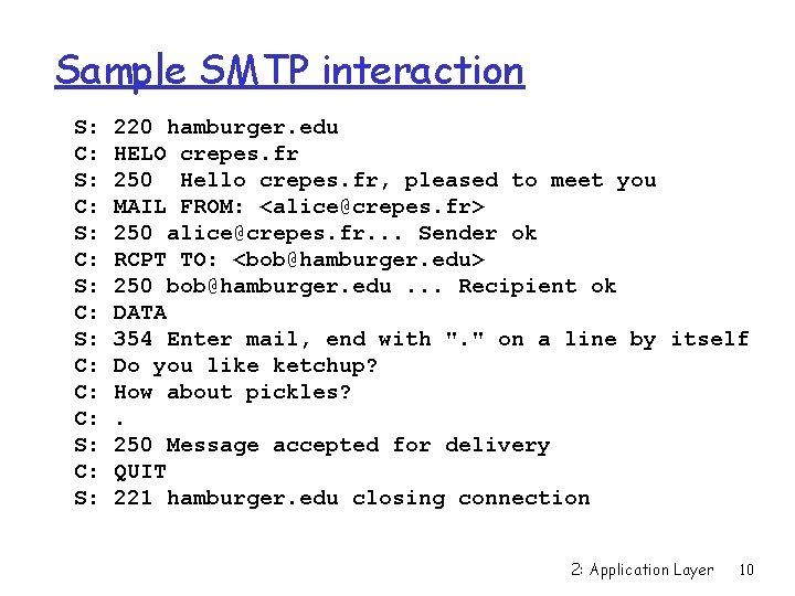 Sample SMTP interaction S: C: S: C: C: C: S: 220 hamburger. edu HELO