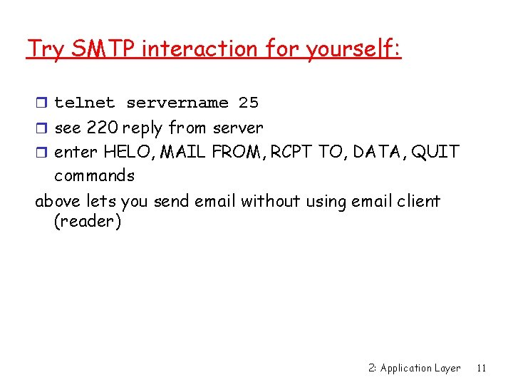 Try SMTP interaction for yourself: r telnet servername 25 r see 220 reply from