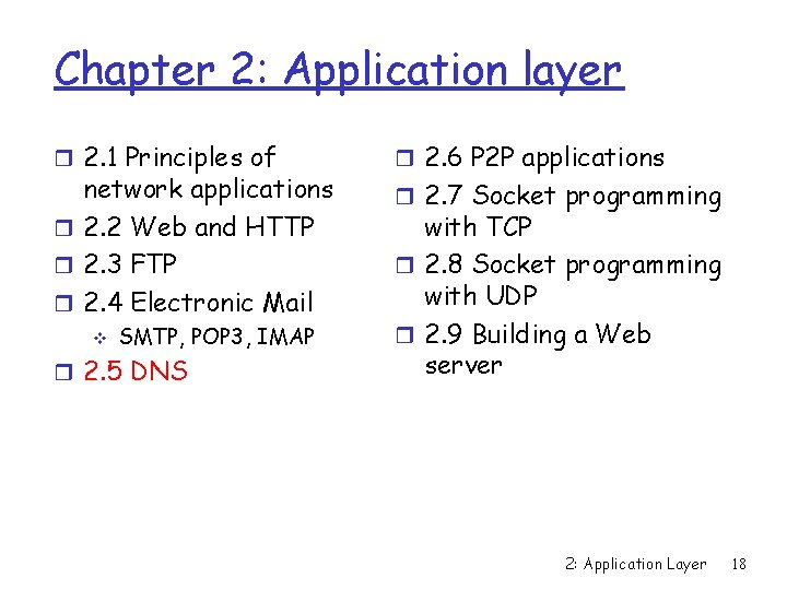 Chapter 2: Application layer r 2. 1 Principles of network applications r 2. 2