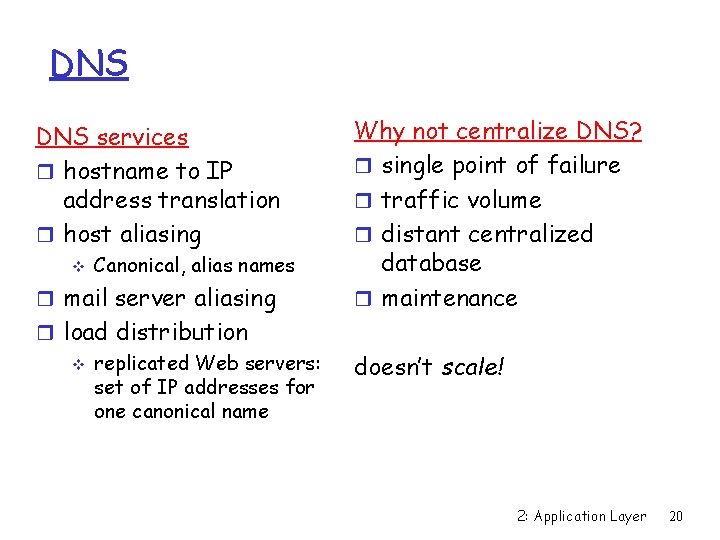 DNS services r hostname to IP address translation r host aliasing v Canonical, alias