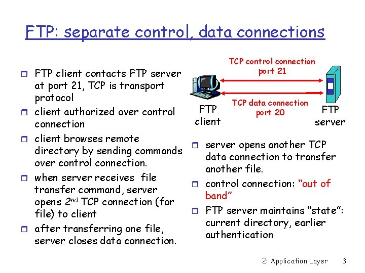FTP: separate control, data connections r FTP client contacts FTP server r r TCP