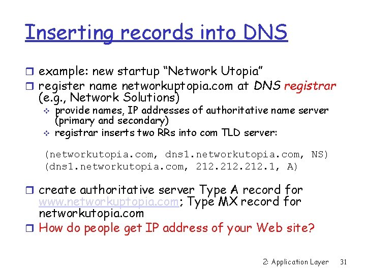 """Inserting records into DNS r example: new startup """"Network Utopia"""" r register name networkuptopia."""