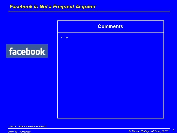 Facebook is Not a Frequent Acquirer Comments • -- Source: Tiburon Research & Analysis