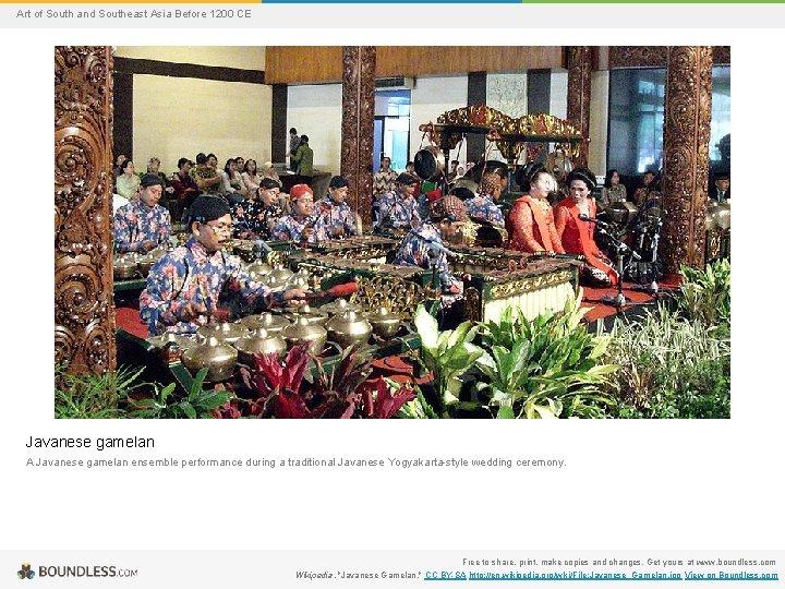 Art of South and Southeast Asia Before 1200 CE Javanese gamelan A Javanese gamelan