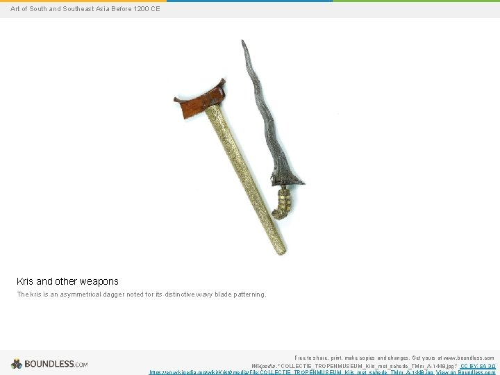 Art of South and Southeast Asia Before 1200 CE Kris and other weapons The