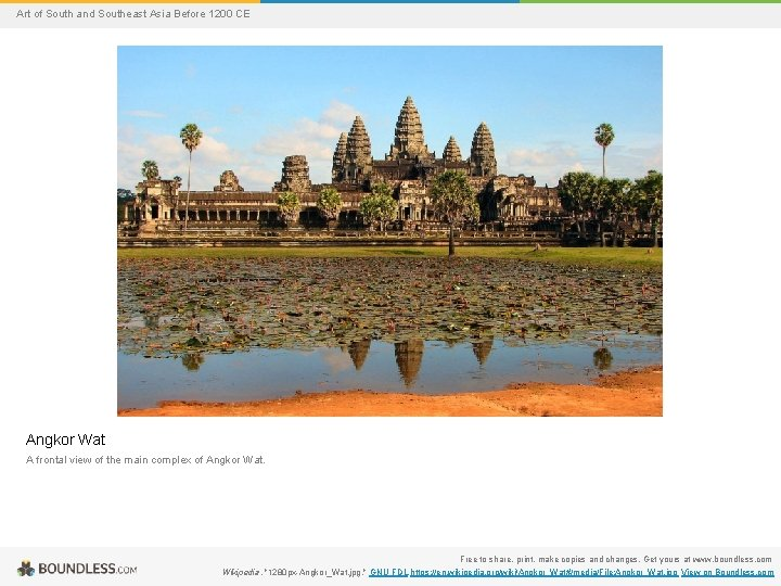 Art of South and Southeast Asia Before 1200 CE Angkor Wat A frontal view