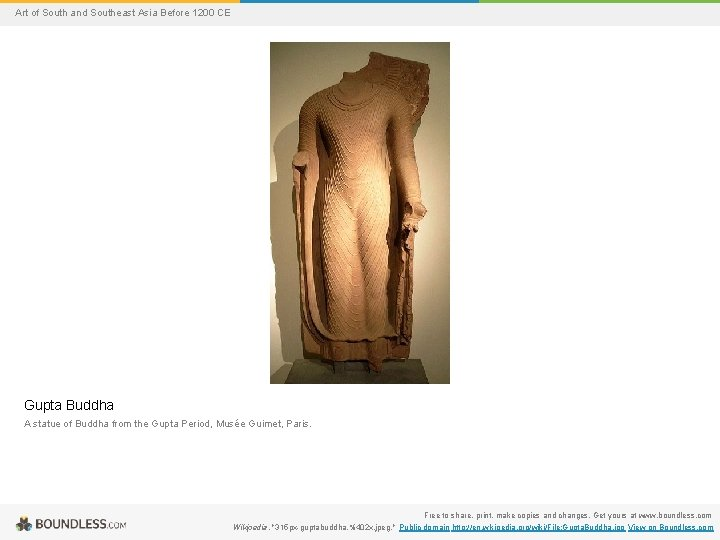 Art of South and Southeast Asia Before 1200 CE Gupta Buddha A statue of
