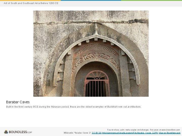 Art of South and Southeast Asia Before 1200 CE Barabar Caves Built in the