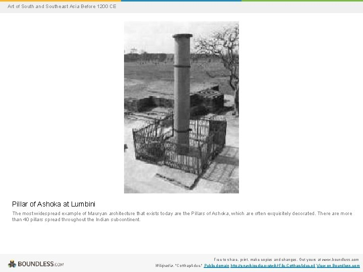 Art of South and Southeast Asia Before 1200 CE Pillar of Ashoka at Lumbini