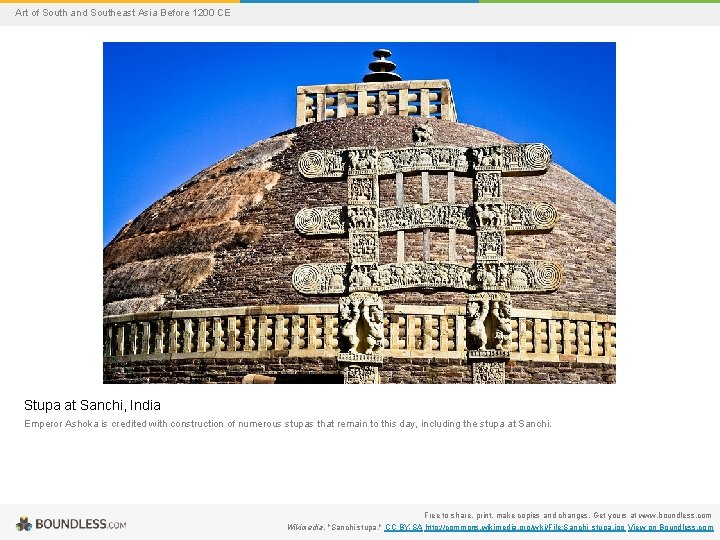 Art of South and Southeast Asia Before 1200 CE Stupa at Sanchi, India Emperor