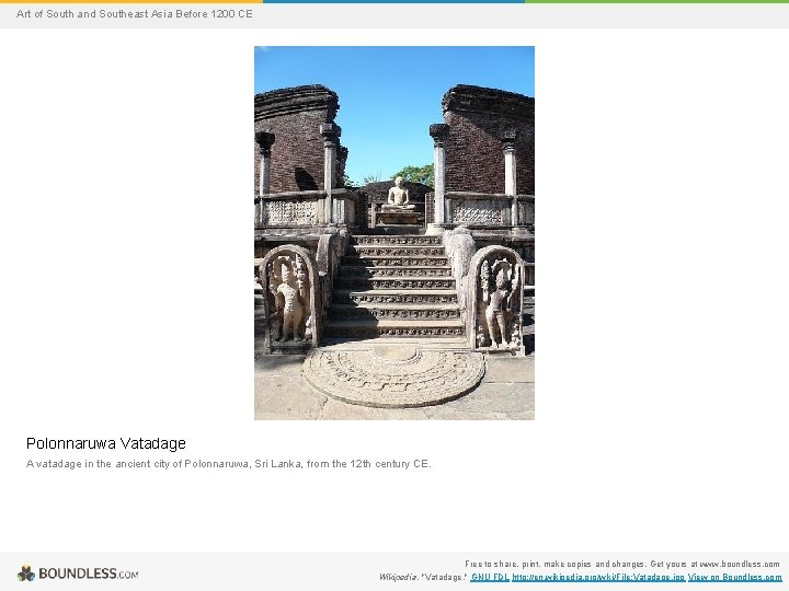 Art of South and Southeast Asia Before 1200 CE Polonnaruwa Vatadage A vatadage in