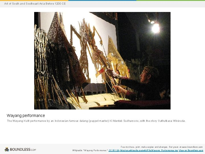 Art of South and Southeast Asia Before 1200 CE Wayang performance The Wayang Kulit
