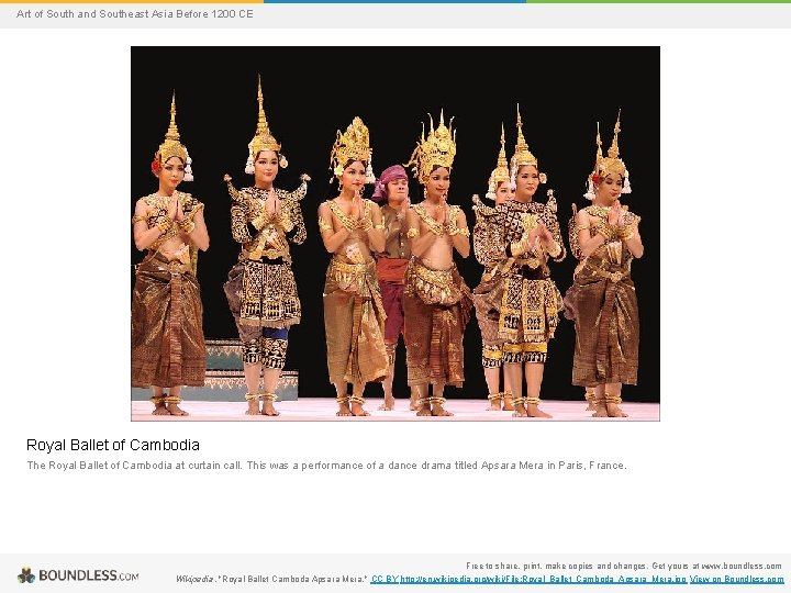Art of South and Southeast Asia Before 1200 CE Royal Ballet of Cambodia The