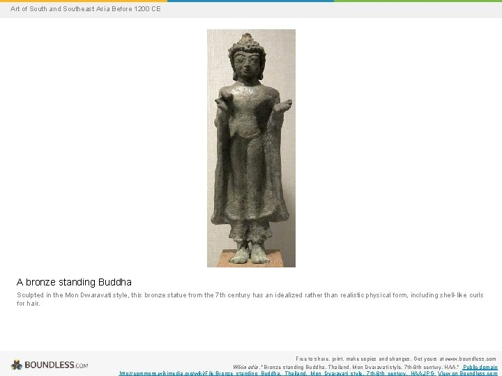 Art of South and Southeast Asia Before 1200 CE A bronze standing Buddha Sculpted