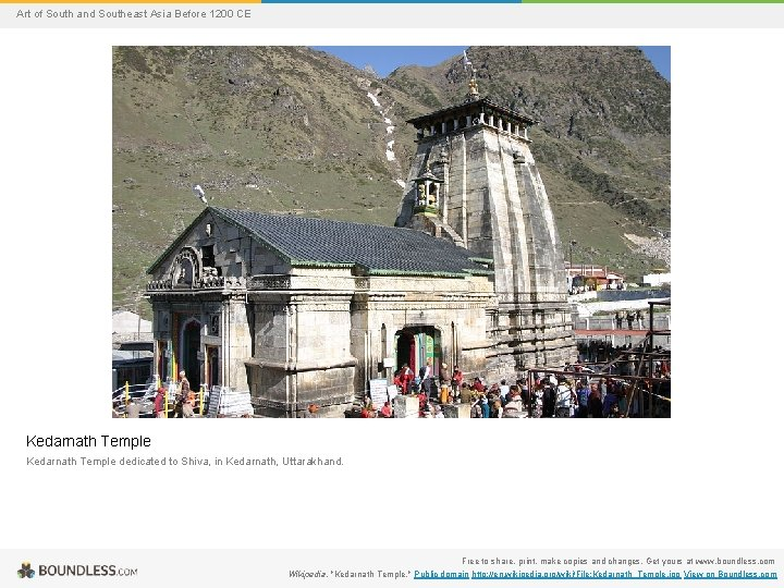 Art of South and Southeast Asia Before 1200 CE Kedarnath Temple dedicated to Shiva,