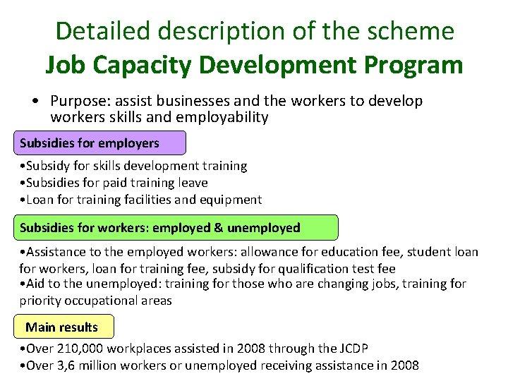 Detailed description of the scheme Job Capacity Development Program • Purpose: assist businesses and