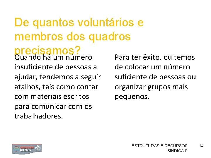 De quantos voluntários e membros dos quadros precisamos? Quando há um número Para ter