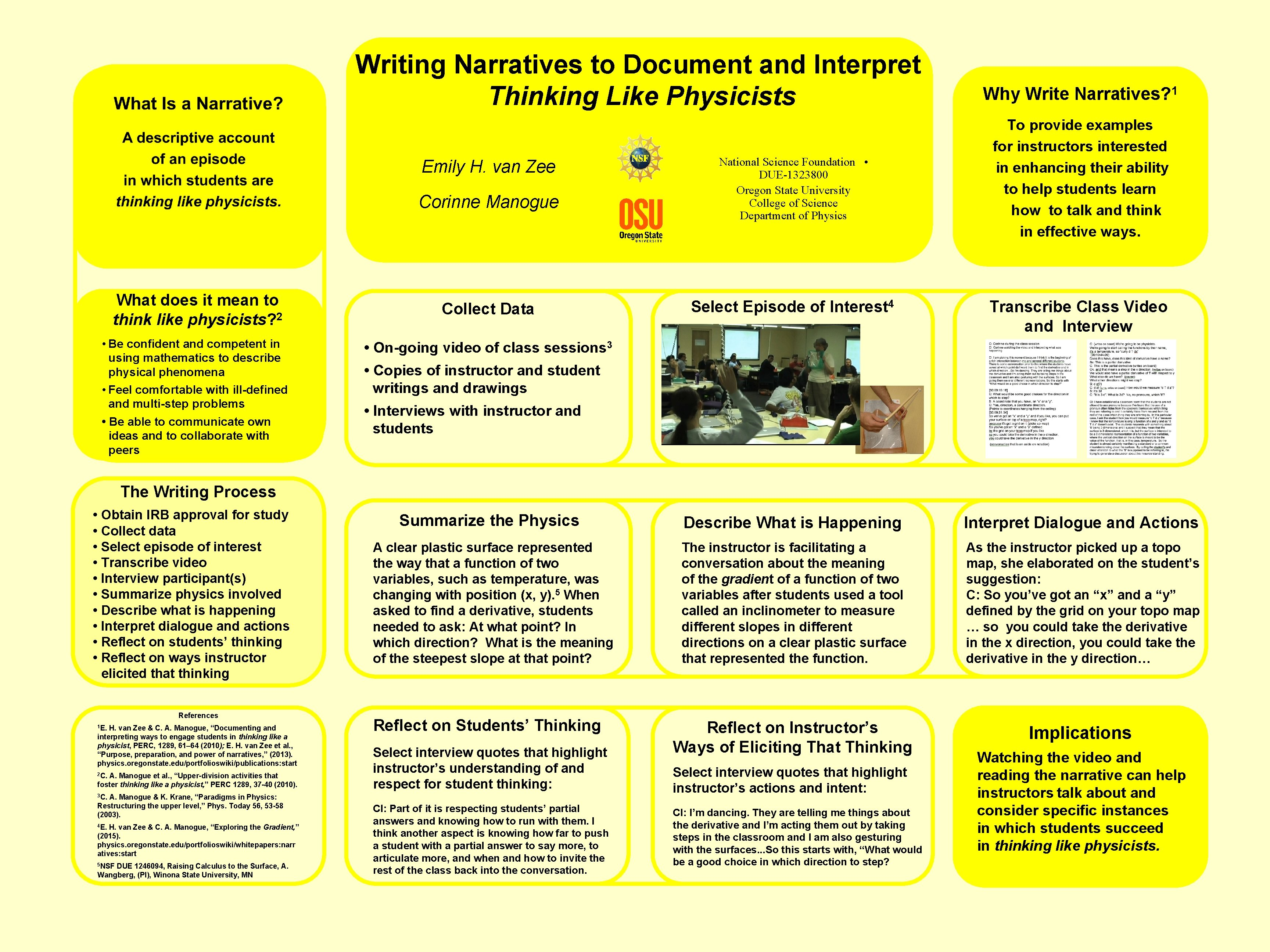 Writing Narratives to Document and Interpret Thinking Like Physicists Emily H. van Zee Corinne