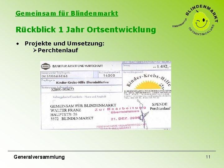 Gemeinsam für Blindenmarkt Rückblick 1 Jahr Ortsentwicklung • Projekte und Umsetzung: ØPerchtenlauf Generalversammlung 11