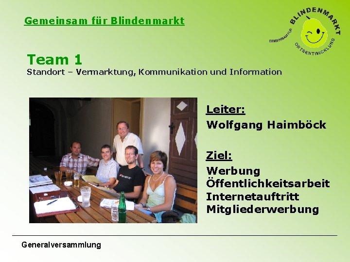 Gemeinsam für Blindenmarkt Team 1 Standort – Vermarktung, Kommunikation und Information Leiter: Wolfgang Haimböck