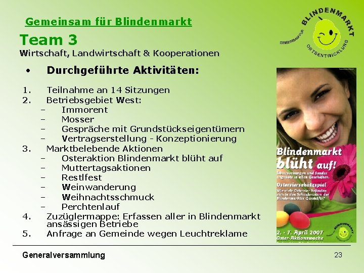 Gemeinsam für Blindenmarkt Team 3 Wirtschaft, Landwirtschaft & Kooperationen • 1. 2. 3. 4.