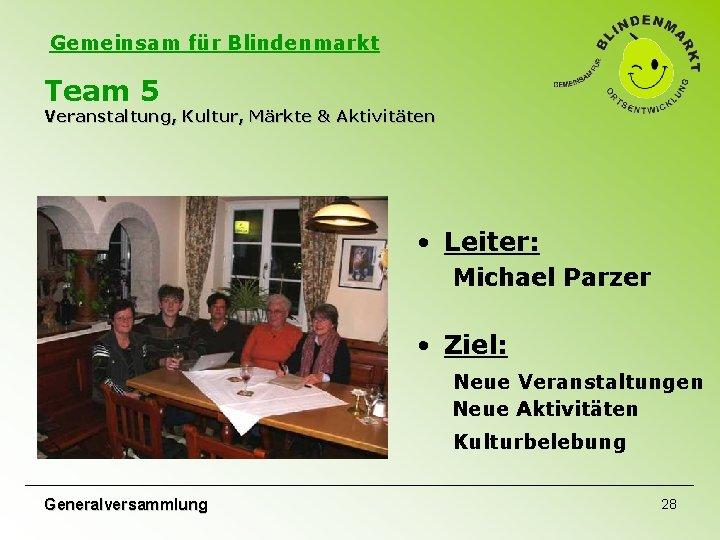 Gemeinsam für Blindenmarkt Team 5 Veranstaltung, Kultur, Märkte & Aktivitäten • Leiter: Michael Parzer