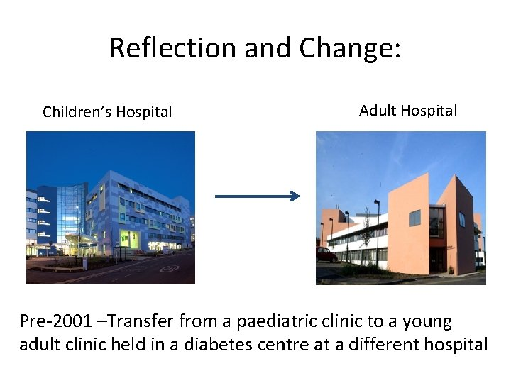 Reflection and Change: Children's Hospital Adult Hospital Pre-2001 –Transfer from a paediatric clinic to