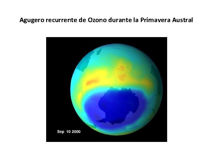 Agugero recurrente de Ozono durante la Primavera Austral