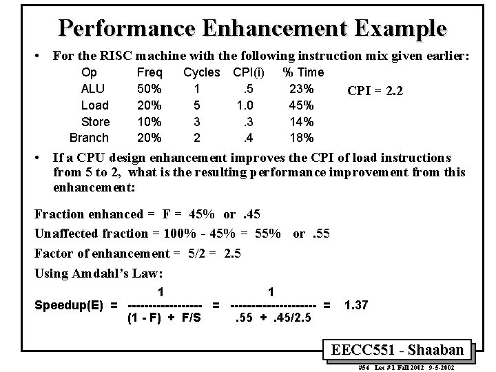 Performance Enhancement Example • For the RISC machine with the following instruction mix given