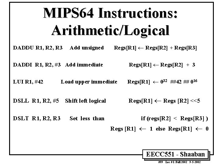 MIPS 64 Instructions: Arithmetic/Logical DADDU R 1, R 2, R 3 Add unsigned Regs[R