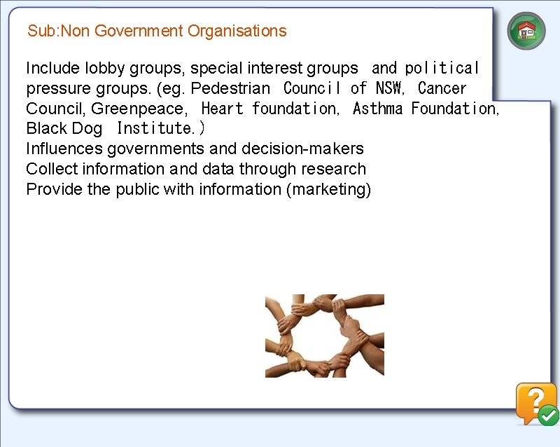Sub: Non Government Organisations Include lobby groups, special interest groups and political pressure groups.