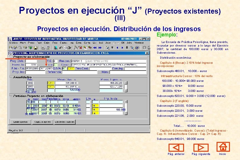 """Proyectos en ejecución """"J"""" (Proyectos existentes) (III) Proyectos en ejecución. Distribución de los ingresos"""