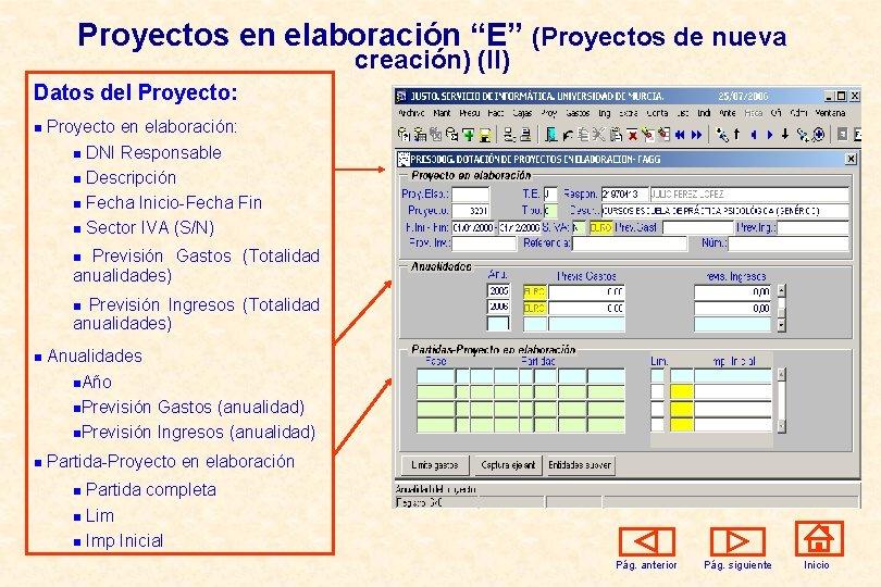 """Proyectos en elaboración """"E"""" (Proyectos de nueva creación) (II) Datos del Proyecto: n Proyecto"""
