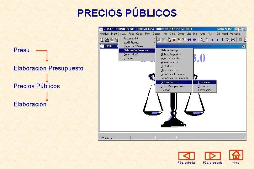 PRECIOS PÚBLICOS Presu. Elaboración Presupuesto Precios Públicos Elaboración Pág. anterior Pág. siguiente Inicio