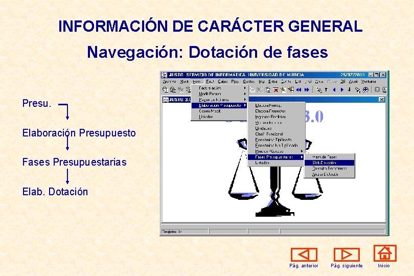INFORMACIÓN DE CARÁCTER GENERAL Navegación: Dotación de fases Presu. Elaboración Presupuesto Fases Presupuestarias Elab.