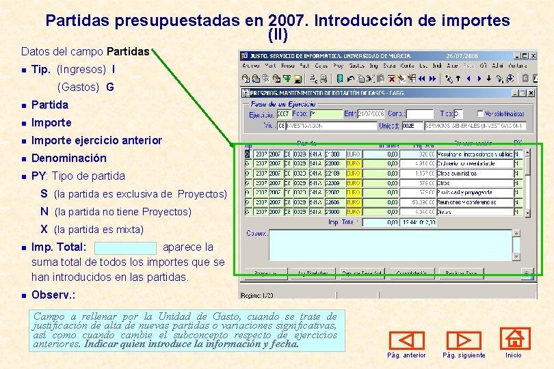 Partidas presupuestadas en 2007. Introducción de importes (II) Datos del campo Partidas n Tip.