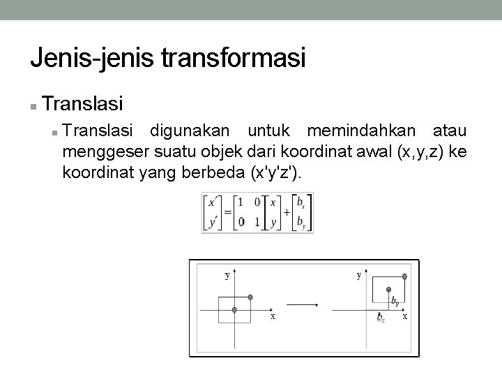 Jenis-jenis transformasi Translasi digunakan untuk memindahkan atau menggeser suatu objek dari koordinat awal (x,