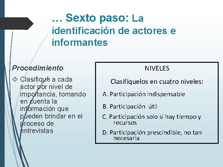 … Sexto paso: La identificación de actores e informantes Procedimiento Clasifique a cada actor