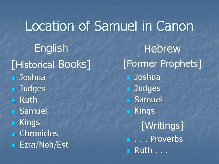 Location of Samuel in Canon English [Historical Books] n n n n Joshua Judges